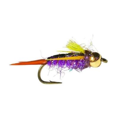 Fly Fishing Flies 12 Beaded Dust Mop Fly Purple color size 10 Barbless Jig