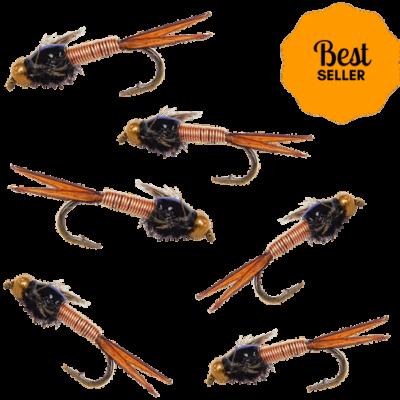 copper john fly, copper loo fly, copper fly, copper john fly for sale, copper john fly assortment, fly fishing flies, trout flies, nymph flies, fly fishing flies for trout
