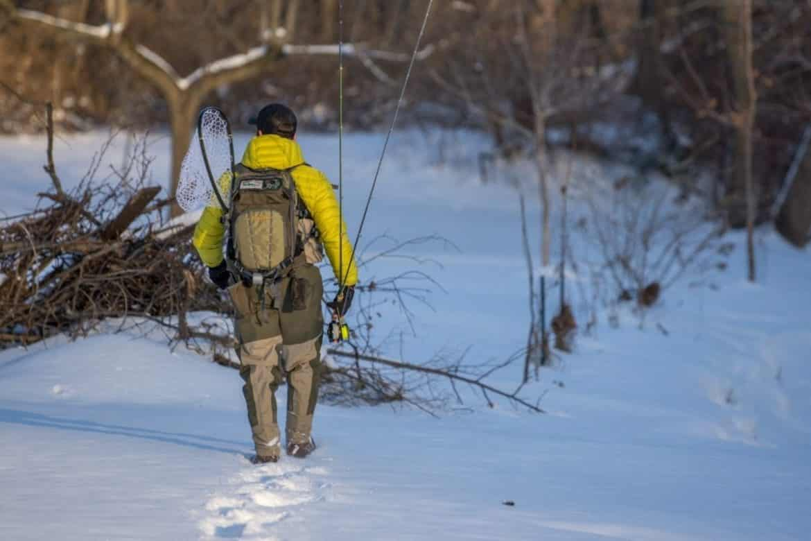 fly fishing in the winter, winter fly fishing, steelhead fishing in New York, fly fishing in the snow, how to fly fish in the winter, fly fishing in freezing temperature