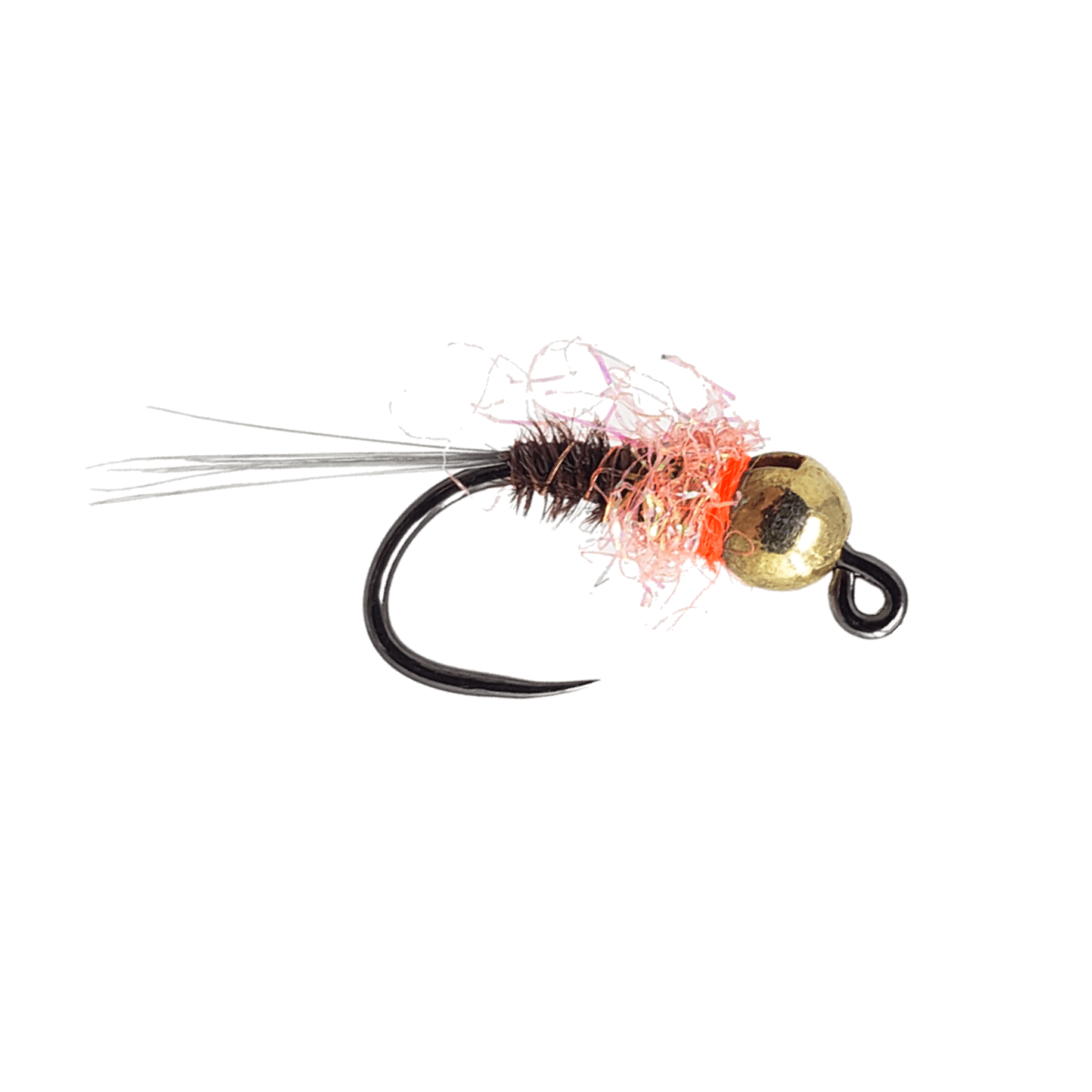UV Orange 6 Fly Fishing Flies with Tungsten Bead Sz.16 Frenchie Jig Nymph